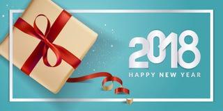 Diseño moderno 2018 de la tarjeta de felicitación del Año Nuevo Fotos de archivo libres de regalías