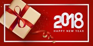 Diseño moderno 2018 de la tarjeta de felicitación del Año Nuevo Fotografía de archivo