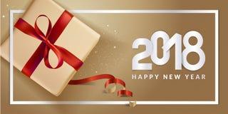 Diseño moderno 2018 de la tarjeta de felicitación del Año Nuevo Fotos de archivo