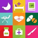 Diseño moderno de los iconos del web para el sistema móvil del icono de la sombra Imagen de archivo