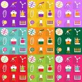 Diseño moderno de los iconos del web para la educación determinada del icono móvil de la sombra Foto de archivo libre de regalías