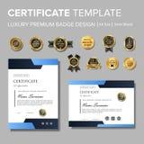 Diseño moderno del certificado con la insignia libre illustration