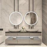 Diseño moderno del cuarto de baño con las tejas de mármol blancas imagenes de archivo