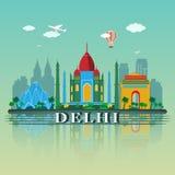 Diseño moderno del horizonte de la ciudad de Delhi La India Imágenes de archivo libres de regalías