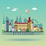 Diseño moderno del horizonte de la ciudad de Estocolmo suecia Fotos de archivo