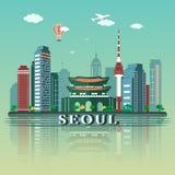 Diseño moderno del horizonte de la ciudad de Seul EL SUR COREA Foto de archivo