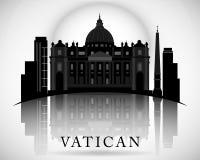 Diseño moderno del horizonte de la Ciudad del Vaticano ilustración del vector
