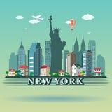 Diseño moderno del horizonte de New York City Imágenes de archivo libres de regalías