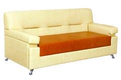 Diseño moderno del sofá de cuero ligero Imagenes de archivo