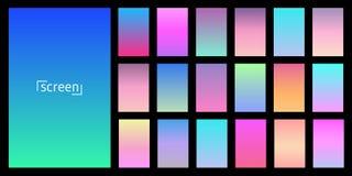 Diseño moderno del vector de la pantalla para el app móvil Colección de pendiente suave del fondo del color Placas con efecto de  ilustración del vector