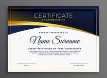 Diseño moderno elegante del certificado del diploma stock de ilustración