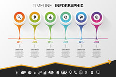 Diseño moderno infographic de la cronología Vector con los iconos Imagen de archivo