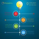 Diseño moderno infographic de la idea del negocio de la bombilla Fotografía de archivo