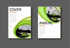Diseño moderno m del folleto de la cubierta de la disposición del fondo verde del extracto Fotografía de archivo