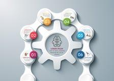 Diseño moderno que piensa infographics de proceso del negocio de las ruedas y de las cadenas de engranaje del whith ilustración del vector
