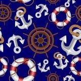 Diseño náutico del modelo de la materia textil de la tela de Marine Elements Navigation Vector Semless stock de ilustración