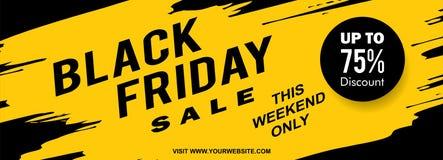 Diseño negro de la bandera de la web de viernes con vector amarillo del estilo del chapoteo de la tinta imagenes de archivo