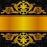 Diseño negro de oro de la etiqueta Imagenes de archivo