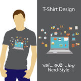 Diseño /Nerd-style/ de la camiseta Foto de archivo