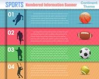 Diseño numerado del vector de la bandera del deporte de la información Imagen de archivo libre de regalías