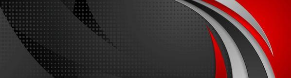 Diseño ondulado abstracto de la bandera de la tecnología negra y roja Foto de archivo libre de regalías