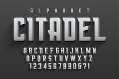 Diseño original condensado vector de la fuente de la exhibición, alfabeto, charact stock de ilustración