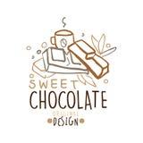 Diseño original de la etiqueta del chocolate dulce, ejemplo dibujado mano del vector en colores marrones ilustración del vector