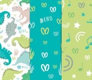 Diseño original de telas y de fondos para las materias textiles Fije de modelos inconsútiles del dinosaurio con los elementos de  libre illustration