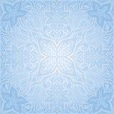 Diseño ornamental floral de la mandala del papel pintado de la moda del vector del fondo decorativo azul de las flores stock de ilustración