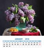 Diseño página calendario enero de 2018 Ramo de lilas imagen de archivo