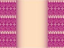 Diseño púrpura de la frontera de los elefantes asiáticos de la alheña con el espacio para el texto Imagen de archivo
