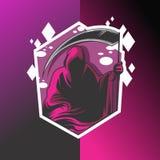 Diseño púrpura del logotipo del parca stock de ilustración