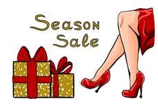 Diseño para la tienda, descuento del brillo, haciendo publicidad Sazone la venta, piernas femeninas en zapatos rojos Muchacha, ta stock de ilustración