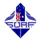 Diseño para las personas que practica surf, jinete de la resaca de Gold Coast, Australia de la camiseta Su Imágenes de archivo libres de regalías