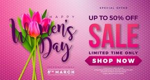 Diseño para mujer de la venta del día con Tulip Flower en fondo rosado Plantilla floral del ejemplo del vector para el vale, band ilustración del vector