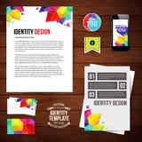 Diseño para su negocio, estilo geométrico de la identidad Conjunto del espacio en blanco Imagen de archivo libre de regalías