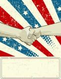 Diseño patriótico con el apretón de manos Imagen de archivo