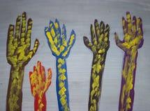 Diseño pintado de las manos Fotos de archivo