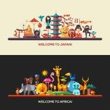 Diseño plano banderas del viaje de África, Japón fijadas Fotos de archivo libres de regalías
