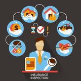 Diseño plano Carrera independiente Inspección del seguro Fotos de archivo