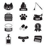 Diseño plano Cat Black Icon Set Foto de archivo libre de regalías