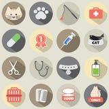 Diseño plano Cat Icon Set Imagenes de archivo