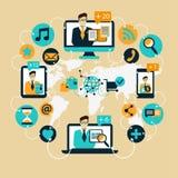 Diseño plano Comunicación empresarial Red social Fotografía de archivo libre de regalías