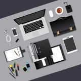 Diseño plano Concepto del lugar de trabajo del negocio Imagen de archivo libre de regalías
