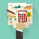 Diseño plano Concepto del negocio con la mano El considerar infographic Foto de archivo