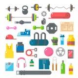 Diseño plano de artículos del gimnasio fijados libre illustration