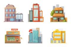 Diseño plano de casas retras y modernas de la ciudad Edificios viejos, rascacielos edificio colorido de la cabaña, casa del café Imagenes de archivo