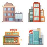 Diseño plano de casas retras y modernas de la ciudad Edificios viejos, rascacielos edificio colorido de la cabaña, frente de la c Foto de archivo libre de regalías