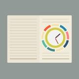 Diseño plano de cuaderno Foto de archivo