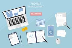 Diseño plano de ejemplo moderno del vector del concepto de la gestión del proyecto - eps10, poseer negocio y finanzas libre illustration